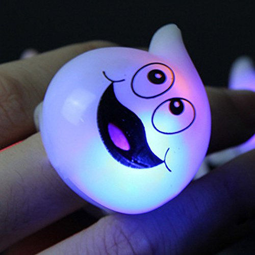 Ruanyi Warm Discoloration of RGB Halloween Bar Dance Props LED Glow Rings Ghost Pumpkin Ring Containing Batteries LED lighting by Ruanyi (Image #3)