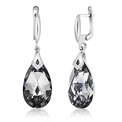 Nirano Collection Black Teardrop Earrings & CZ Created with Swarovski Crystals