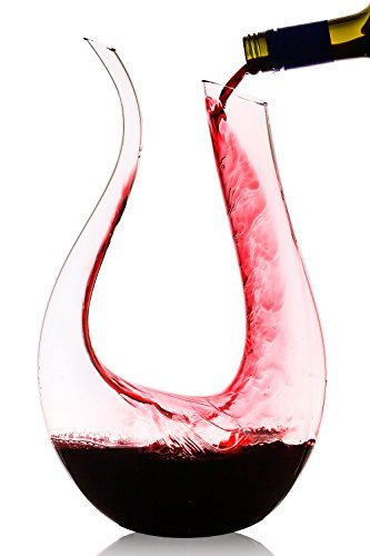 59.2 oz ) U Shaped Crystal Glass Wine Decanter / Wine Carafe (Mouth Blown Wine Decanter)