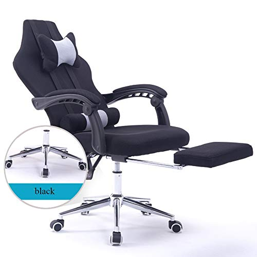 High-Back Gaming Chair Office Chair Recliner Computer Chair for Gaming Ergonomic E-Sports Chair Height Adjustable with Lumbar Support Footrest 6 Colors (Color : Black, Size : A)