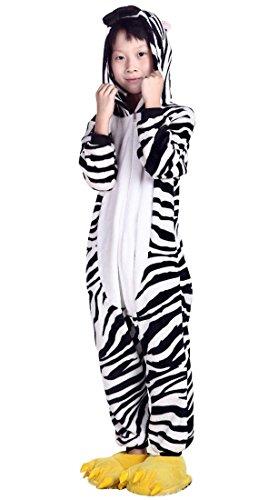 Aivtalk Zebra Animal Unisex Kids Girl Boy Flannel Pajamas One-Piece Sleepwear (Asian Costumes For Kids)
