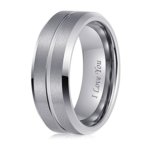 LaurieCinya Tungsten Carbide Ring Men Women Wedding Band Engagement Ring 8mm Comfort Fit Engraved 'I Love You' by LaurieCinya (Image #2)