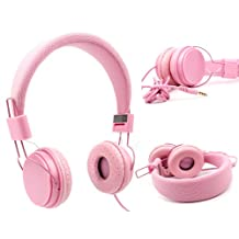 Casque DURAGADGET réglable rose pour enfant, compatible avec lecteurs MP3/MP4, tablettes, smartphones – repliable avec microphone intégré