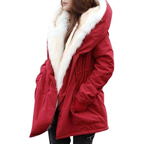 Con In Eleganti Cardigan Parka Donne Rosso Giacche Invernale Pile Overdose Cappuccio Giubbotto Lunga 8qUwZ