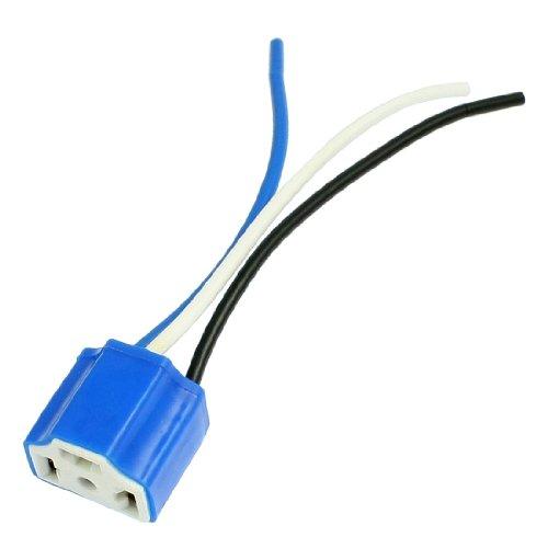 uxcell Black White Blue H4 Ceramic Socket for Car Headlight Lamp