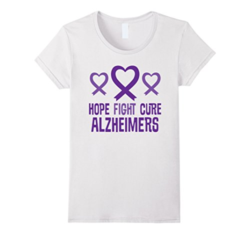 Womens Alzheimers Awareness T-shirt Purple Ribbon Support XL White