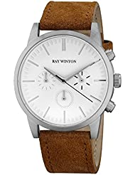 Ray Winton Mens Chronograph White Dial Polished Stainless Steel Case Brown Suede Leather Strap Watch