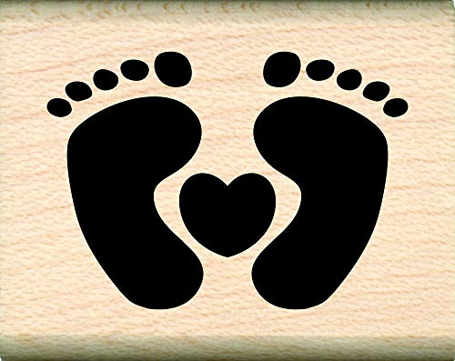 Stamps by Impression Baby Feet Rubber Stamps (Small Heart with Feet)