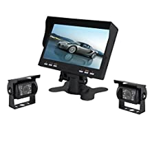 Esky 7-Inch TFT LCD Color Monitor Waterproof Car Backup Rear View Camera System (Night Vision, Side Camera)