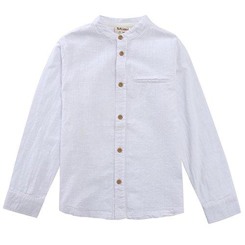 MOMOLAND Boys Long Sleeve Mandarin Collar Woven Button Down Shirt Linen Design White Blue