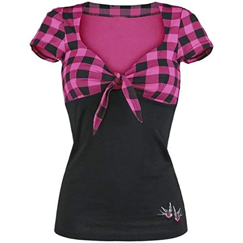 Simayixx Women Shirts Plus Size Sexy Deep V Neck Lace Lattice T Shirt Short Sleeve Blouses Vintage Plaid Tunic Tops Coat Hot Pink