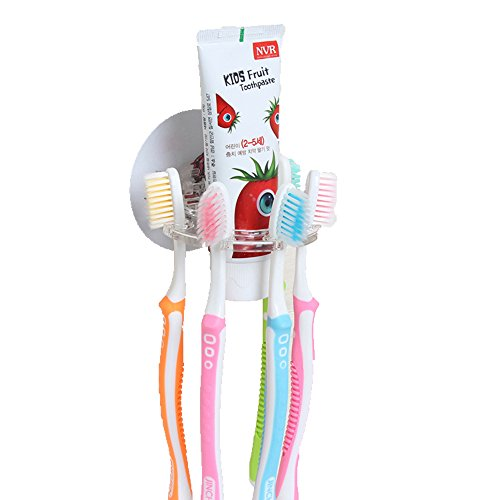 - Toothbrush Holder, Hanging, Mirror, Wall Mounted, Toothpaste Holder, Dental Organization, Multi-Functional, Traveling, Multiple Toothbrushes, Kids, Bathroom, No Drill or Nails Required, Minimalist