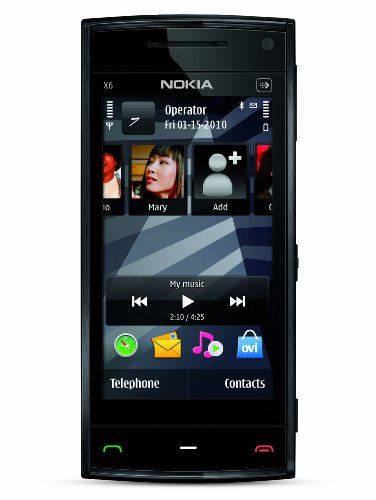 Nokia X6 Unlocked GSM Phone with 5 MP Camera, Capacitive Touch, GPS with Voice Navigation, Car Holder, 3G and 16 GB Memory (Black Cap), Best Gadgets