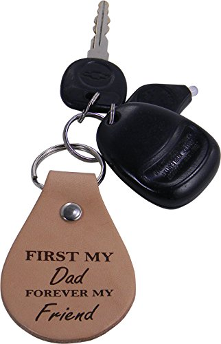 First My Dad Forever My Friend Leather Key Chain - Great Gift for Father's Day, Birthday, or Christmas Gift for Dad, Grandpa, Grandfather, Papa, Husband