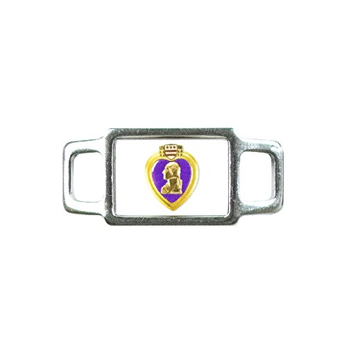 Paracord Planet USA Military Rectangle Charms - Assorted Styles and Branches of the Military Available - Perfect for Paracord Bracelet, Lanyard, Keychain (Purple Heart)