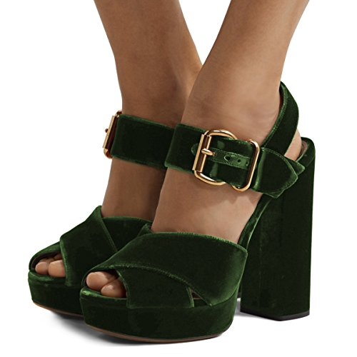 XYD Chic Chunky Heel Peep Toe Sandals Velvet Platform Slingback Cross Strap Dress Pump Shoes Size 12 Dark (Velvet Platform Sandals)