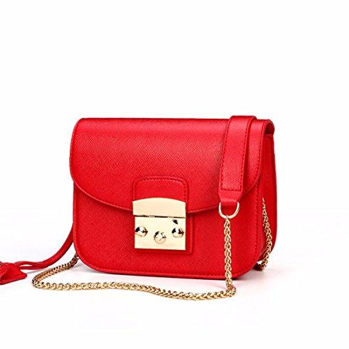 La cadena de moda bolso pequeño cuadrado bolsa bolso bolsos de otoño e invierno, amarillo Rojo