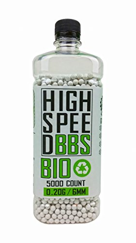 High Speed BBs Bio 0.20g 5,000ct Bottle Biodegradable 6mm Airsoft BB Ammo, White BBs, Earth-Friendly Biodegradable Plastic, Outdoor Airsoft Field Approved BIO Ammo, Works Well With All Airsoft Guns - Airsoft Well