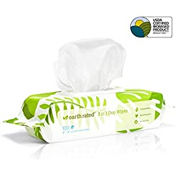 Earth Rated Dog Wipes USDA-Certified 99 Percent Biobased, 100 Hypoallergenic Pet Wipes for Dogs & Cats, Unscented Deodorizing Grooming Wipes for Paws, Body and Butt, Doggie Wipes Measure 8 x 8 Inches