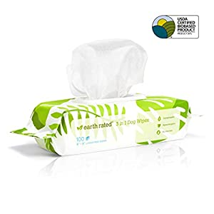 Earth Rated Dog Wipes USDA-Certified 99 Percent Biobased, 100 Hypoallergenic Pet Wipes for Dogs & Cats, Unscented Deodorizing Grooming Wipes for Paws, Body and Butt, Doggie Wipes Measure 8 x 8 Inches 49