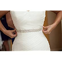 Trlyc Champagne Ribbon Sash Crystal Pearl Wedding Bridal Dress Sash Belt