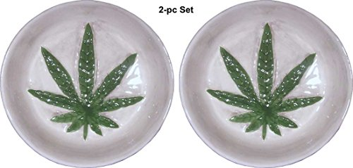2-pc-Set-of-Marijuana-Leaf-dish-ashtray-Design-Raised-Relief-Porcelain-ceramic-By-Nose-Desserts-Brand