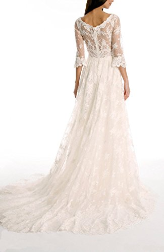 Tsbridal lace wedding dress 2018 3 4 sleeves bohemian for Bohemian wedding dress shops