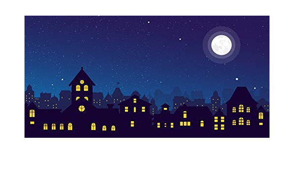 10x5ft Cartoon Cityscape Backdrop Starry Sky Moon Night City View Landscape Urban Skyscrapers Kids Boy Birthday Party Photography Background Baby Shower Events Decor Photo Booth Props