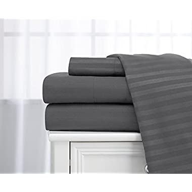 Queen Size Charcoal/Stone Classic Sateen Dobby Stripe Sheet Set