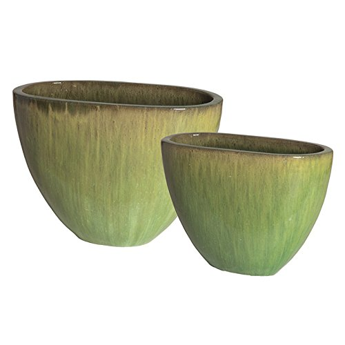 Oval Ceramic Planters - Melon Green (set of 2) by Emissary
