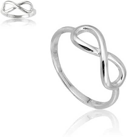 Sterling Silver Infinity Figure 8 Ring. Available in sizes 4 - 4.5 - 5 - 5.5 - 6 - 6.5 - 7 - 7.5 - 8 - 8.5 - 9 - 9.5 - 10