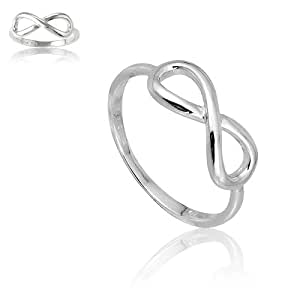 Sterling Silver Infinity Figure 8 Ring (Size 4) Available in sizes 4 - 4.5 - 5 - 5.5 - 6 - 6.5 - 7 - 7.5 - 8 - 8.5 - 9 - 9.5 - 10