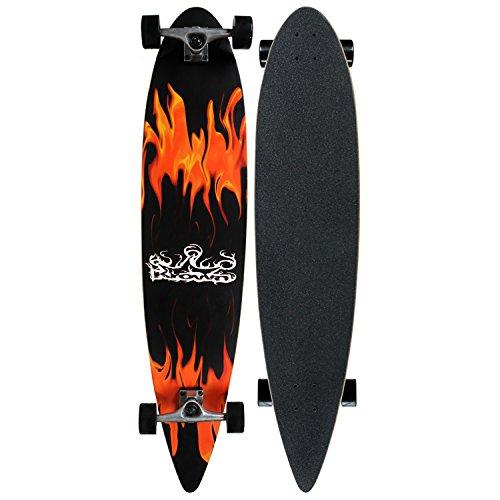 (Krown Pin Tail Red Flame Longboard)