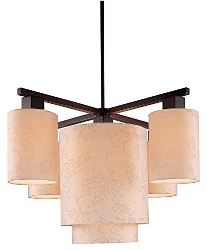 George Kovacs P8085-615, Kimono 5-Light Chandelier, Antique Dorian Bronze