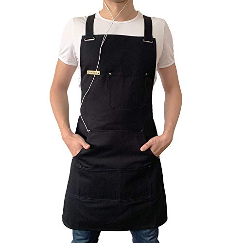 HAZBEN Apron for Men and Women with Tool Pockets, Chef Apron for Kitchen BBQ Grill Black Towel Loop, Woodworking Apron…