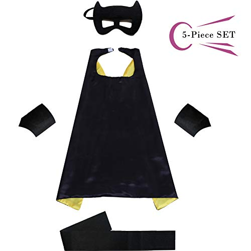 Superhero Dress Capes Set for Kids - Child DIY Superhero Themed Birthday Halloween Party Dress up 5-Pack Set ()