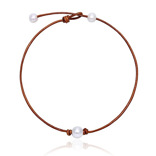 MAIMANI Single Freshwater Cultured Pearl Choker Necklace Light Brown Cowhide Cord for Girls 15-17