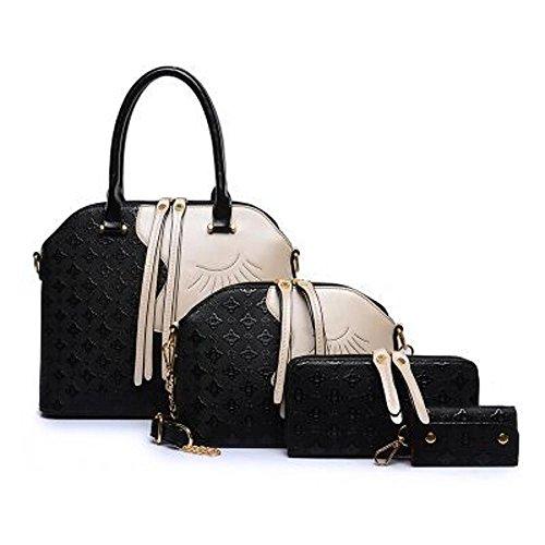 Aoligei Beauté tête quatre morceaux du paquet femelle, européenne et américaine de la mode en relief multi-usage de sac à main épaule unique Ament sac B