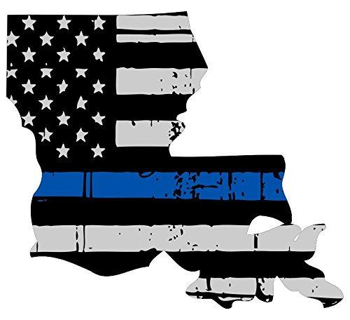 Louisiana tattered thin blue line us flag honoring our men & women of law enforcement car symbol sticker decal die cut vinyl window computer - Made and Shipped in USA