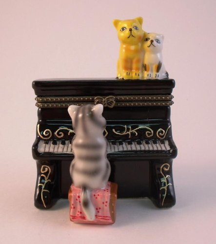 Adorable Cat Kittens on Piano Music Lover Porcelain Hinged Trinket Box phb