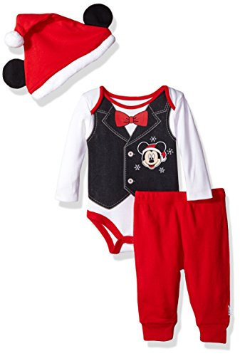 Disney Baby Boys' Mickey Mouse Holiday 3-Piece Santa Pant Set, Assorted, 0-3 Months ()