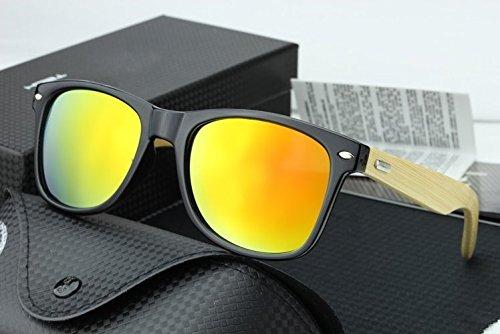 Bamboo Wood Wooden Mirrored Wayfarer Sunglasses - Sunset - Bamboo Ray Bans