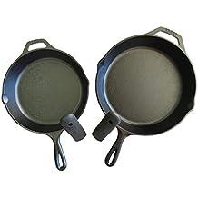 "Lodge Seasoned Cast Iron Skillet Bundle, 12"" and 10.25"" (Set of 2) Cast Iron Frying Pans. Bonus Included: 2 Premium Lodge Silicone Handle Holders"