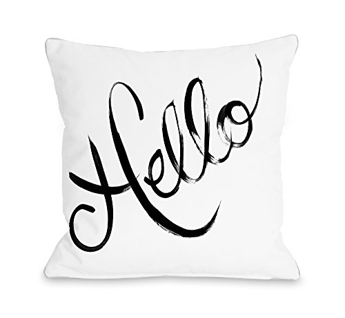 One Bella Casa Hello Painted/Stripes Throw Pillow by Timree Gold, 16