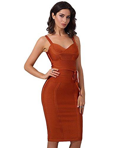 Maketina Women s Spaghetti Strap Bodycon Party Bandage Dress with Belt  Detail 0a4f5e7b7