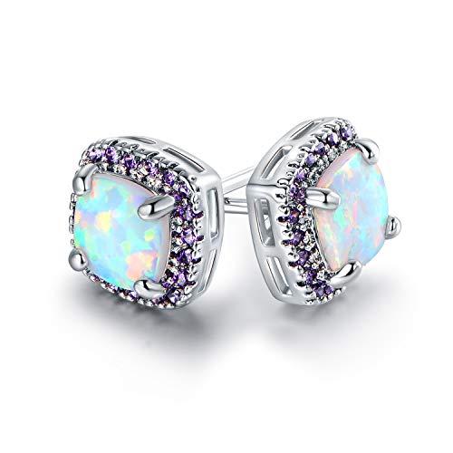 Ladies Purple Rose - Barzel White Gold Plated Created Opal Stud Earrings (White Gold Amethyst Purlple)
