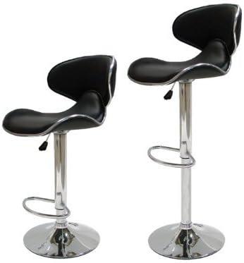 Ediors Set of 2 Swivel Elegant PU Leather Adjustable Hydraulic Modern Bar Stool Barstool Chair Black