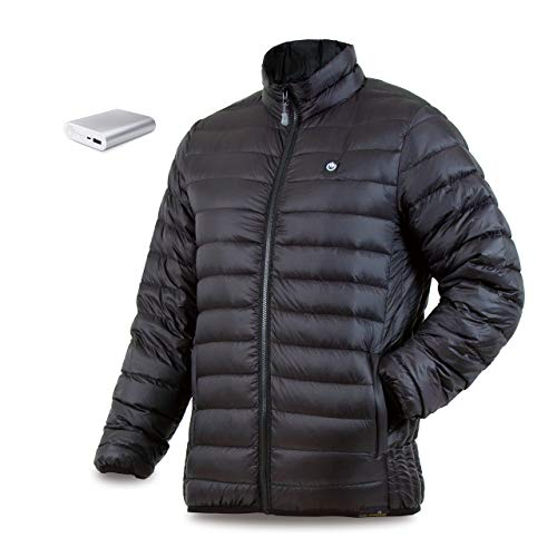 (delspring Men's Down Heated Jacket with Battery 12 Hour - Packable Puffer, 800 Fill Power (M))
