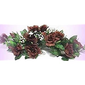 Inna-Wholesale Art Crafts New Chocolate Brown Swag Silk Roses Centerpiece Decorating Flowers Arch Gazebo Pew - Perfect for Any Wedding, Special Occasion or Home Office D?cor 37