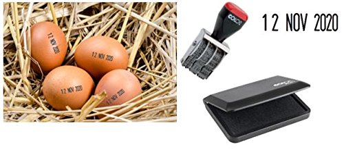 Egg Stamp (EGG DATER KIT - includes 3mm rubber date stamp and ink pad containing Egg Safe Food Ink - BLACK)